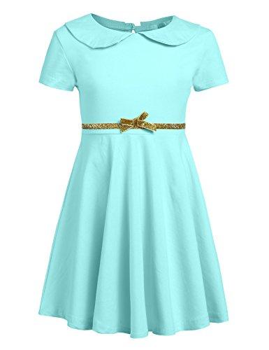 Arshiner Girls Dress Short Sleeve Peter Pan