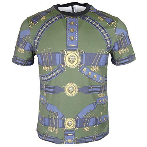 Versace Printed All Over Logo Khaki T-Shirt XXL Khaki