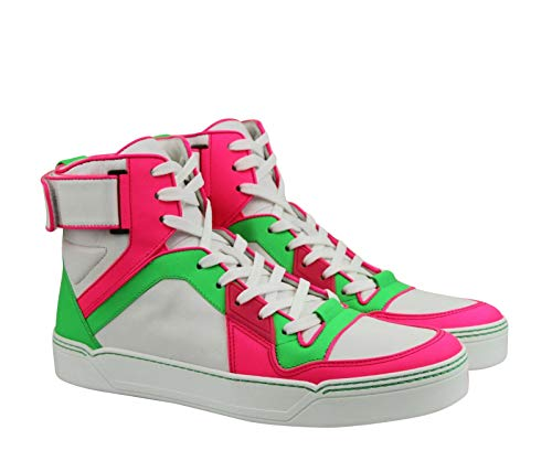 45331bb59882 Gucci High top Green Pink White Neon Leather Sneaker Strap · Home Shop Men  Shoes ...