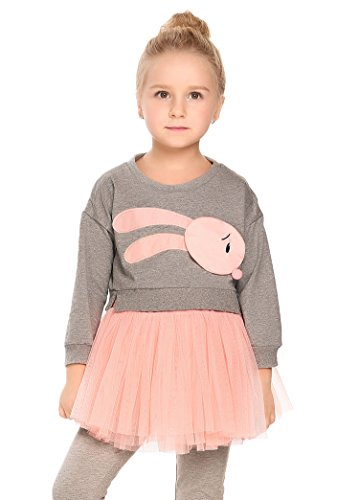 Arshiner Infant Toddler Girls Long Sleeve Cartoon Bunny Top Dress