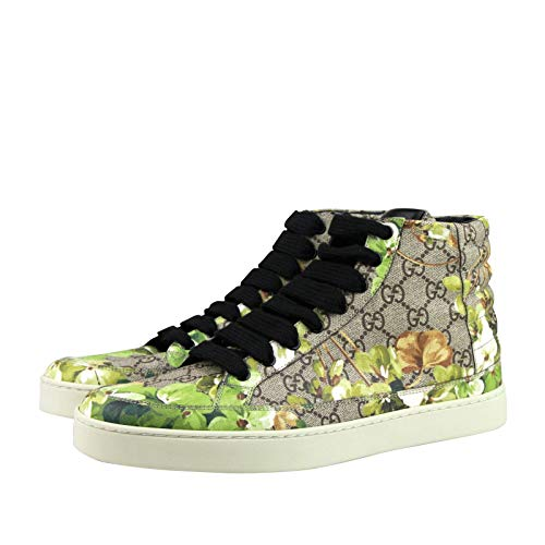 Gucci Bloom Print Supreme GG Green Canvas Hi Top Sneakers Shoes