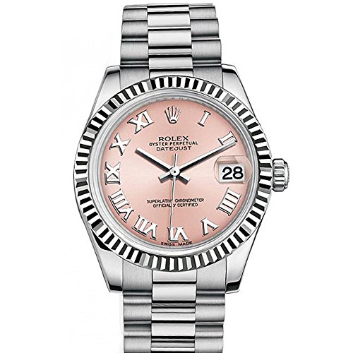 Rolex Datejust 31mm Pink Roman Dial White Gold Ladies Watch