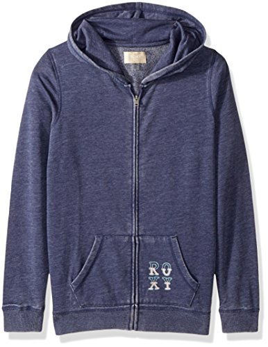 Roxy Girls' Big Dance Forever Zip-Up Hooded Sweatshirt, Crown Blue, 8/S