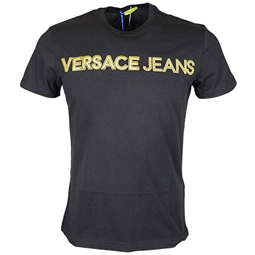 Versace Jeans RIC Slim Fit Stitched Logo Black T-Shirt L Black