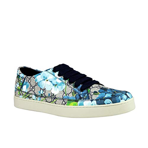 Gucci Bloom Flower Print Blue Supreme GG Canvas Sneaker Shoes
