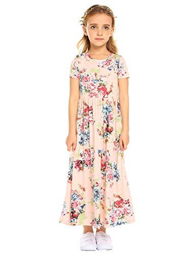 Arshiner Kids Girls Wear Short Sleeve Floral Print Long Maxi Dress