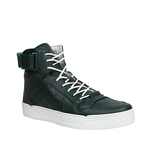 Gucci Men's Guccissima Dark Green Leather Hi Top Sneakers