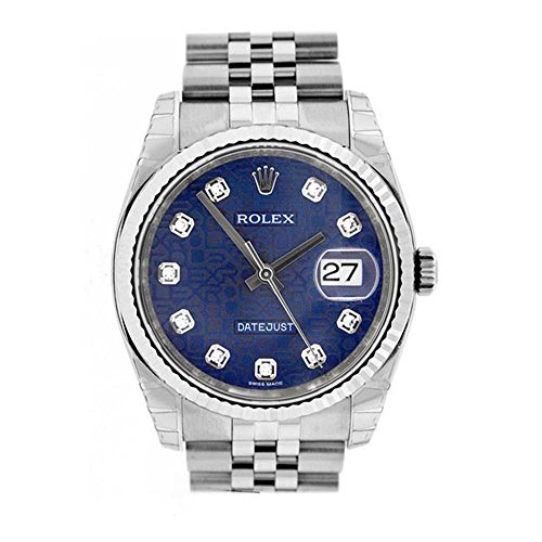 Rolex Datejust 36mm Blue Diamonds Dial Stainless Steel Watch