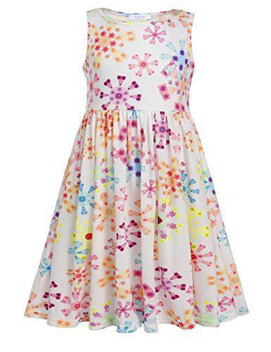 Arshiner Girls Sleeveless Dress Swing A-line High Waist Casual Dress