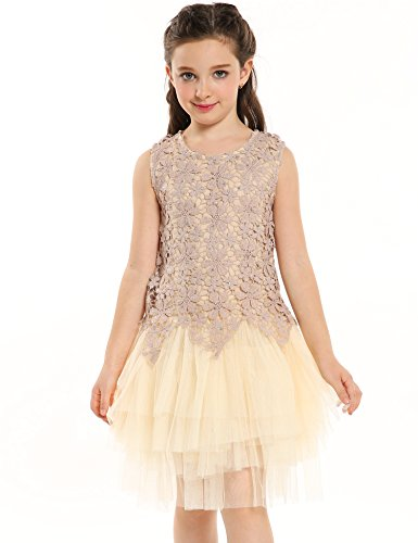 Arshiner Flower Girl Dress with 6 Layer Soft Yarn Princess