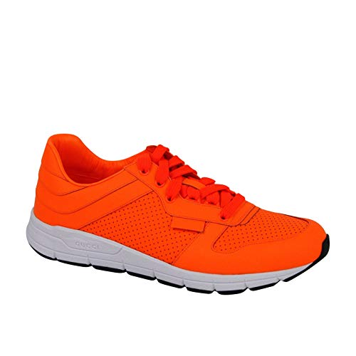 Gucci Running Neon Orange Leather Lace up Sneakers