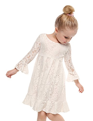 Arshiner Girl Lace Dress 3/4 Sleeves Wedding Party Dress