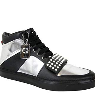 Gucci Limited Edition Silver/Black Leather High top Sneaker