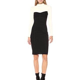 Theory Women's Bustier Seam Dress, Black/Ivory L
