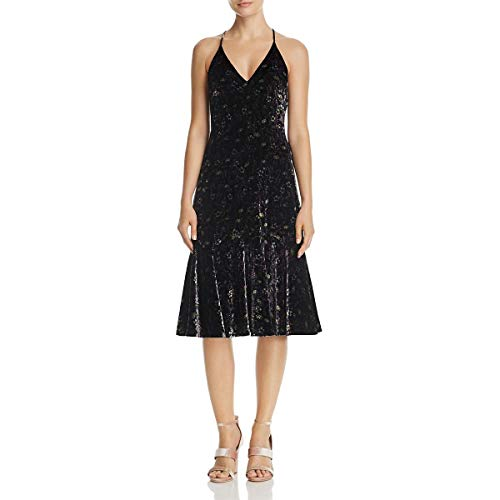 Rebecca Taylor Womens Velvet Mid-Calf Slip Dress Black 4