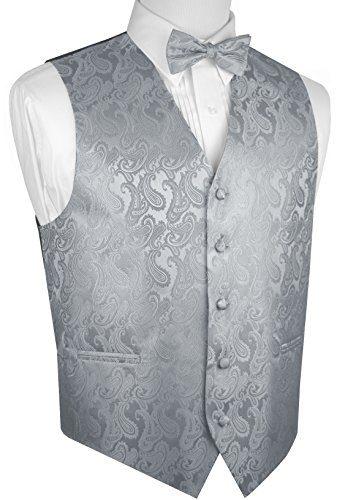 Brand Q Men's Paisley Vest Bow-Tie Set-Silver 2XL