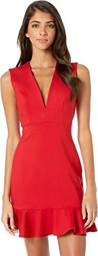 Susana Monaco Women's Plunge Ruffle Hem Dress Red