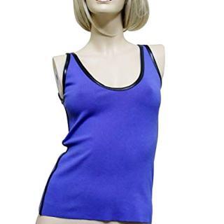 Gucci Women's Blue Cashmere Blend Small Cotton Knit Leather Trim Tank Top