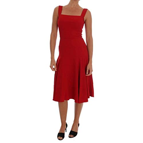 Dolce & Gabbana Red Shift Below Knee Gown Stretch Dress