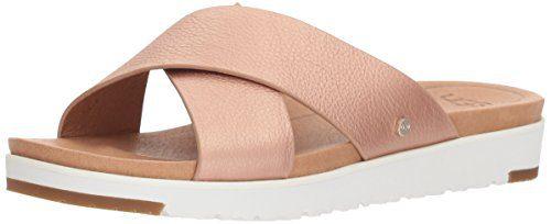 UGG Women's Kari Metallic Flat Sandal Rose Gold 8.5 M US