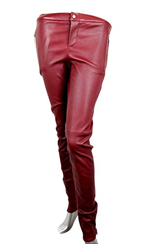 Gucci Women's Leggings Stretch Burgundy Lamb Leather Pant