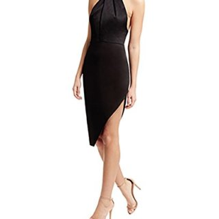 StyleStalker Lana Halter Dress Large in Noir