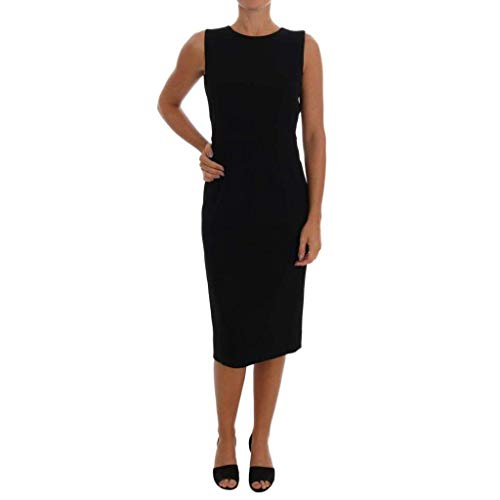 Dolce & Gabbana Black Stretch Crystal Sheath Dress