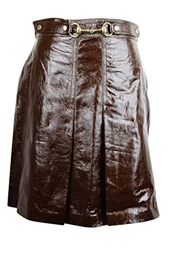 Gucci Women's Horsebit Dark Brown Patent Leather Straight Skirt