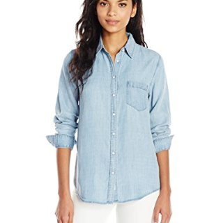DL1961 Women's Blue Shirt Shop Mercer and Spring Regular Top, Bleach, XS
