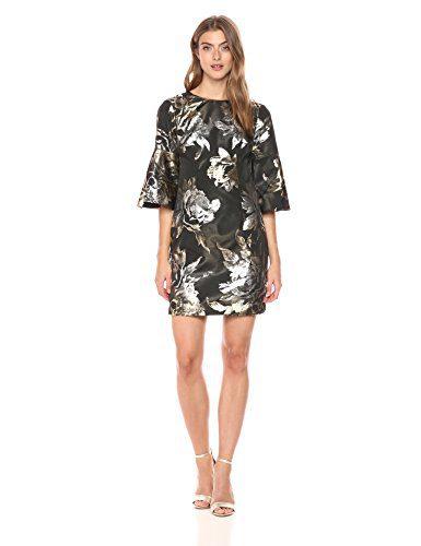 Trina Turk Women's Rachelle Dress, Black/Gold, 8