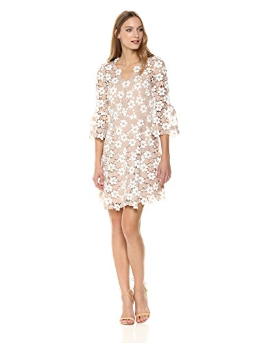 Shoshanna Women's Ren Bell Sleeve Shift Lace V-Neck Dress
