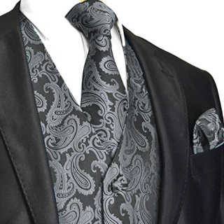 Men's 3pc Paisley Vest (L (Chest 44), Charcoal)