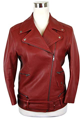 Gucci Women's Quilted Lining Red Biker Leather Jacket
