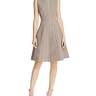 Theory Window Check Fit-and-Flare Dress (Charcoal, 2)