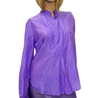Gucci Gold Buckle Purple Cotton/Silk Shirt Top