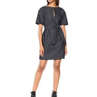 Theory Women's Short Sleeve Belted Shift Dress Navy 6