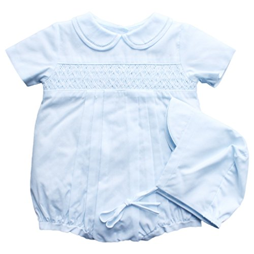 Petit Ami Romper with Smocking and Fagotting at Collar in Blue Newborn