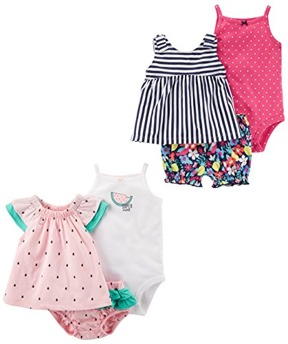 Carter's Baby Girls' 6-Piece Bodysuit Tee and Short Set