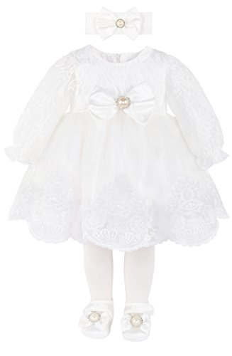 Taffy Baby Girl Newborn Christening Baptism Lace White Dress