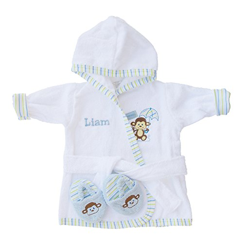 PERSONALIZED Monogrammed Monkey Terry Hooded Bath Robe