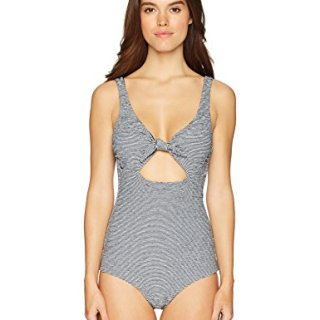 Mara Hoffman Adeline Tie Front Low Leg One Piece Swimsuit