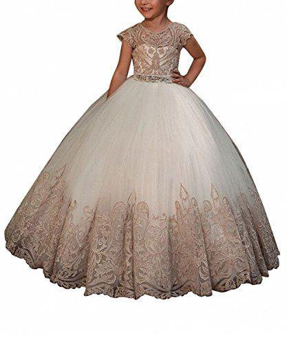 WDE Cap Sleeve Long Champagne Flower Girls Dresses