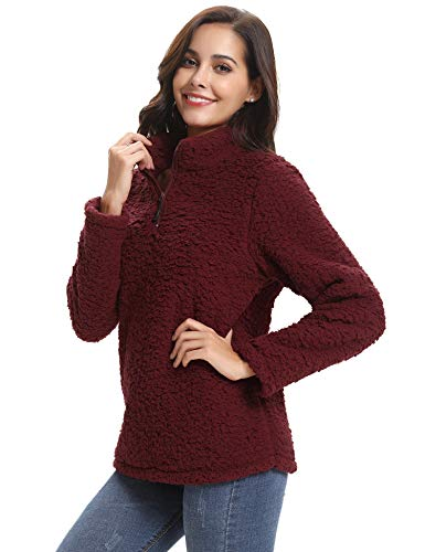 Abollria Womens Long Sleeve Zip Sweatshirt Fleece