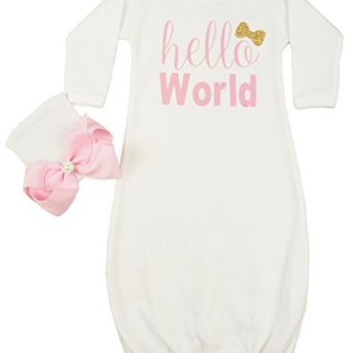 Posh Peanut Hello World Infant Baby Gown Layette Soft Sleeper