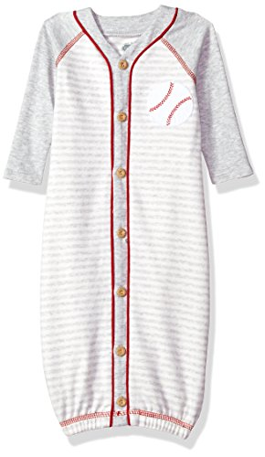 Mud Pie Baby Boys Baseball Striped Convertible Sleepgown