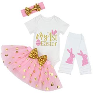 Baby Girls My 1st Easter Tutu Romper Dress Short Bodysuit