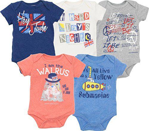 The Beatles Lyrics Infant Baby Boys' 5 Pack Onesies Blue