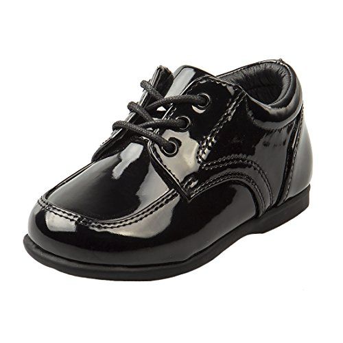 Josmo Baby Boy's First Steps Walking Dress Shoe, Black Patent