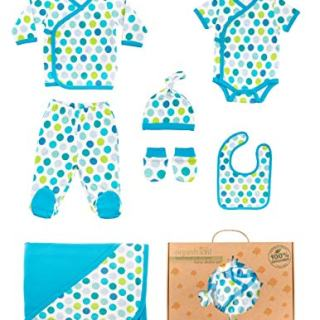 OrganicKid Organic Cotton 7 Piece Newborn Baby Boy Clothes Sets