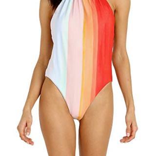 Mara Hoffman Women's Dominique High Leg Halter One Piece Swimsuit